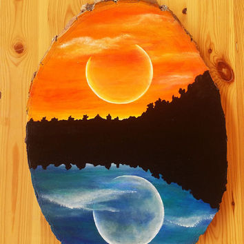 Day and night painting, acrylic painting of a moon and sun, wood round painting, wood wall art, hand painted paintings, sunrise and sunset