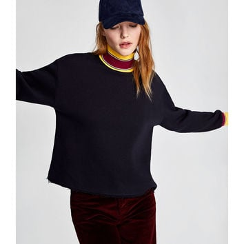 CONTRASTING RIBBED SWEATSHIRT Navy blue - S