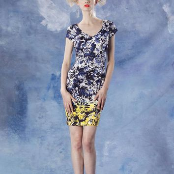 Theia - 881531 Flower Printed Color Block Dress