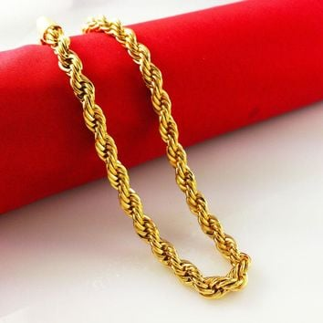 vacuum plated 24K gold necklaces,6mm 60cm chain