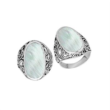 AR-1087-MOP-6'' Sterling Silver Ring With Mother Of Pearl