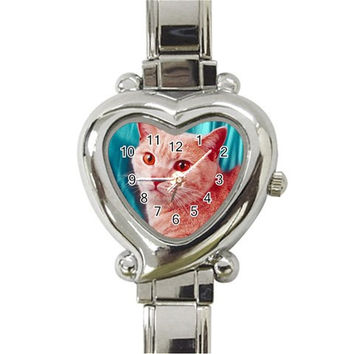 Oriental Cat D2 Heart Italian Charm Watch