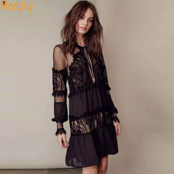 2016 Women Lady Summer Style O neck Long Sleeve Sexy See Through Party Mini Lace Dress Loose Casual Beach Dress Drop Ship LS164