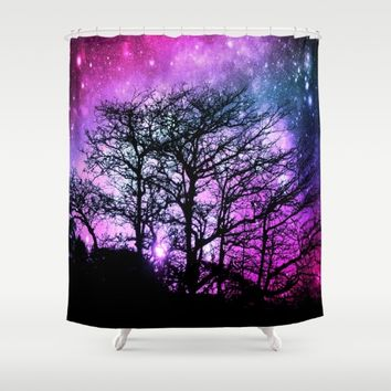 Black Trees Fuchsia Purple Space Shower Curtain by 2sweet4words Designs
