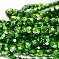 50 Shamrock Green 6mm Facated Rounds - Czech Glass Beads