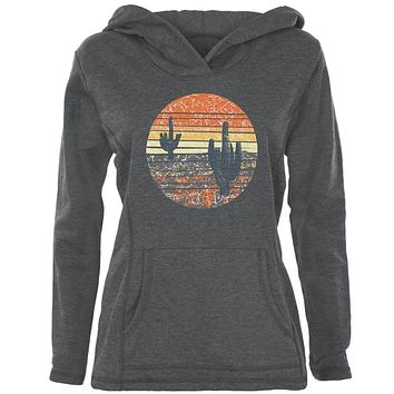 Vintage Cactus Sunset Womens Pullover Hoodie