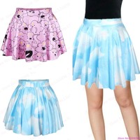Hot Sale Blue Clouds Sky Mini Skirt 3D Printed Pastel Clouds Women Pleated Skirts Leisure Sports Slim Kilts Femininas Saias