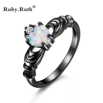 Fashion Wedding Love Heart Opal Ring Fashion White CZ Jewelry Black Gold Filled Engagement Promise Wedding rings for women