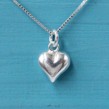 Heart necklace, 925 Sterling Silver, puffed heart, tiny heart charm on box chain, silver necklace, love necklace, gift for her, silver heart
