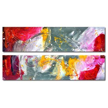 """'Edge of gray'- 48"""" X 24"""" Original Abstract  Art. Free-shipping within USA & 30 day return Policy."""