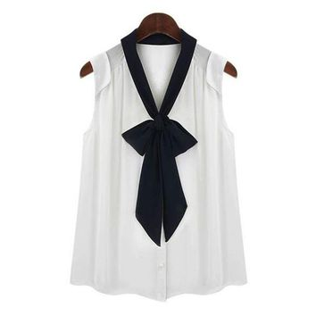 Chiffon Blouse for Women Summer Front Bow Tie V Neck Preppy Style Shirts Blouse Tops
