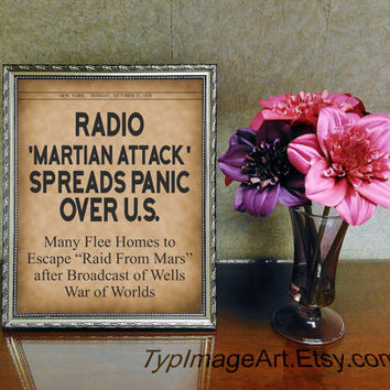 Newspaper Headlines Printable, Historic Newspapers, War of the Worlds Radio 1938, Christmas Gift Instant Download PDF