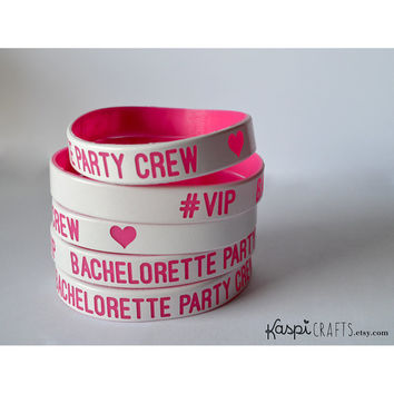 Bachelorette party wristband - glow in the dark silicon bracelet - bachelorette party crew - party favors - pack of 6