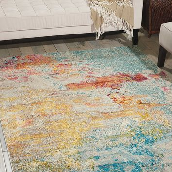 "Modern Abstract Area Rug, 7'10"" x 10'6"", Multicolor Grey (8'x10')"