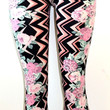 E&K Zig Zag Floral Print Stretch Leggings,