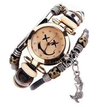 CCQ Brand Vintage Cow Leather Bracelet Watch Men Women Wristwatch Quartz