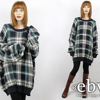 Vintage 90s Plaid Oversized Sweater Vintage Jumper 90s Grunge Sweater Oversized Knit Plus Size Sweater Plus Size Vintage Plaid Sweater 3X 4X