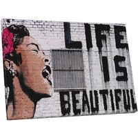 Bansky 'Life is Beautiful' Gallery Wrapped Canvas Wall Art - Free Shipping Today - Overstock.com - 18025741 - Mobile