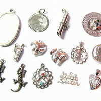 Vintage Sterling Silver Lot, Destash  / Charms / Pendants, Jewelry Making Supplies