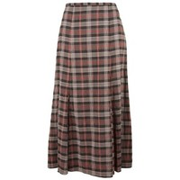 East Metropolitan Check Skirt, Brown/mink