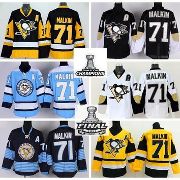 2016 Final Patch 71 Evgeni Malkin Ice Hockey Jerseys Pittsburgh Penguins Champions Winter Classic Throwback Home Road Black White Yellow