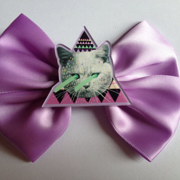 Cute Pastel Purple Cat Laser Hair Bow Hairbow Kitty Kitten Geometric Hipster Triangle Kawaii Kitsch Fairy Kei Sweet Lolita Emo Goth Gothic