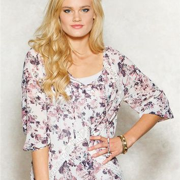 Jolt Floral Lace Peasant Top