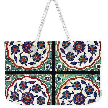 An Ottoman Iznik Style Floral Design Pottery Polychrome, By Adam Asar, No 14b - Weekender Tote Bag