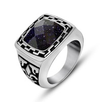 Fashionable wide ring Men s domineering personality single blue sandstone titanium steel jewelry SA707