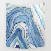 AGATE Inspired Watercolor Abstract 02 Wall Tapestry by ViviGonzalezArt