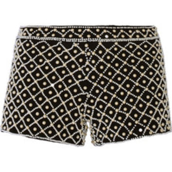 Alice + Olivia Embellished woven shorts – 50% at THE OUTNET.COM