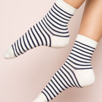 Navy and Cream Stripe Socks - Socks - Accessories