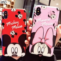 LIHNEL 3D Relief mickey minnie mouse for iPhone Cases Couple Cute Back Shell Cover for iPhone X 7 7Plus 6 6S plus 8 8plus Case