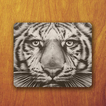 White Tiger Mouse Pad Beautiful Animal Abstract MousePad Office Pad Work Accessory Personalized Custom Gift