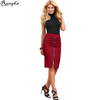 Split skirt Women Elegant Vintage Pleated red High Waist 2016 new Business Casual Wear To Work Office Party Pencil Sheath Skirts