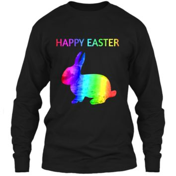 Happy Easter - Easter Bunny water color rainbow Rabbit LS Ultra Cotton Tshirt