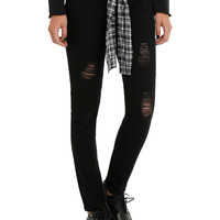 LOVEsick Black Distressed Plaid Belt Skinny Jeans