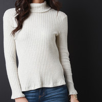 Ribbed Knit Turtleneck Slit Sweater Top