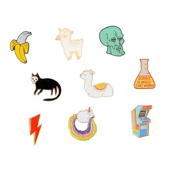 Cartoon Brooches and Pins Dolphin Sheep Llama Head Game machine Lightning Cat Brooch Collection Pin Metal Badge Pins for Kids