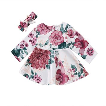 Toddler Kid Baby Girls Clothing Floral Dress Long Sleeve Party Pageant Tutu Mini Dresses Baby Girl Clothes Outfits 0-2Y