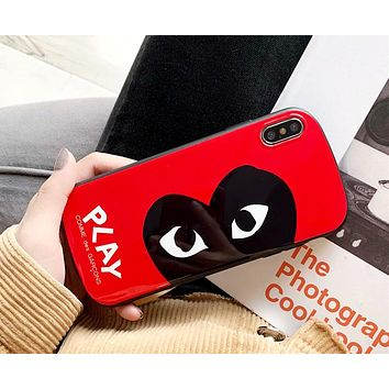 PLAY tide brand personality eye iphone8 mobile phone shell all-inclusive curved protective cover red