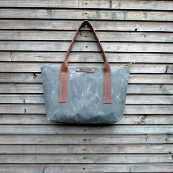 Waxed canvas tote bag/ carry all with  leather handles and zipper closure  COLLECTION UNISEX