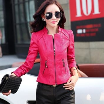 2016 Fashion leather jacket motorcycle jackets women clothing women's plus size 2xl patchwork nubuck pink women outerwear