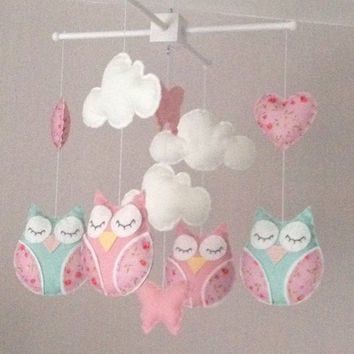 Baby mobile - Cot mobile  -  Owl Mobile - Cloud Mobile - Baby girl mobile - Nursery Decor - Pink Nursery - Pink baby mobile