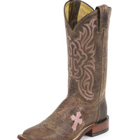 Tony Lama Women's Tan Saigets Worn Goat H Toe Boot