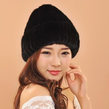 New Women Warm Winter Caps For Ladies Knitted Beanies Mink Fur Balls Earflaps Hats For Girls