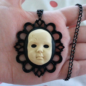 Creepy Baby Doll Face - Pendant