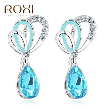 Blue Crystal Ear Stud Earrings
