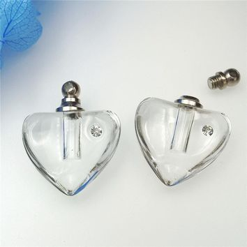 50pieces/lot screw cap 19*19mm clear heart Crystal Vials pendant perfume vial bottle fashion necklace pendant name on rice art