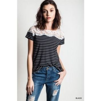 Lace and Stripe Tee